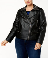 MICHAEL Michael Kors Size Faux-Leather Studded Biker Jacket