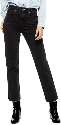 Topshop High Waist Split Hem Straight Leg Jeans