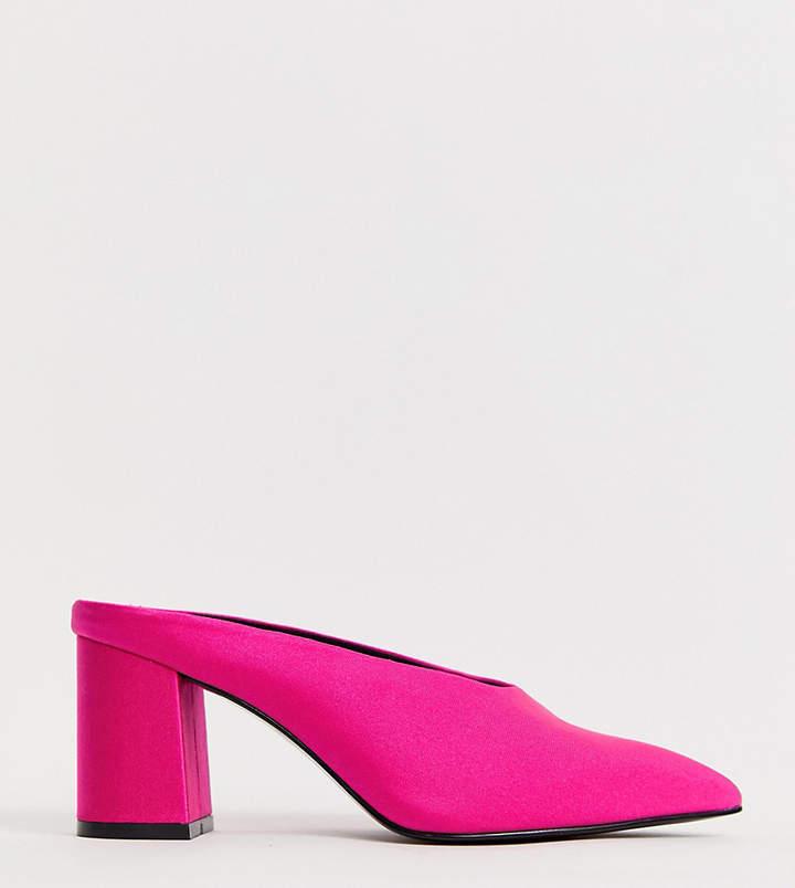 7e5df1f792f Design DESIGN Wide Fit Wesley kitten heel mules in neon pink