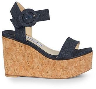 Jimmy Choo Abigail Denim Cork Wedge Sandals