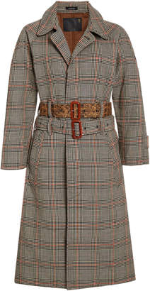 R 13 Double Belt Check Print Trench Coat