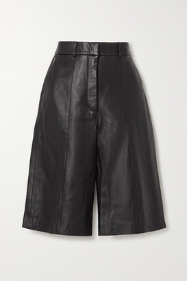 Anine Bing - Nora Pleated Leather Shorts - Black