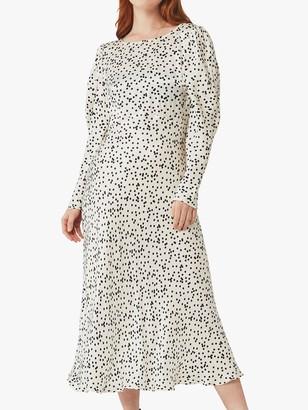 Ghost Rosaleen Spot Print Satin Dress, Hattie Holepunch