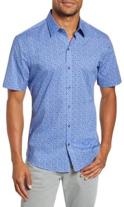 Zachary Prell Perani Regular Fit Print Short Sleeve Button-Up Shirt