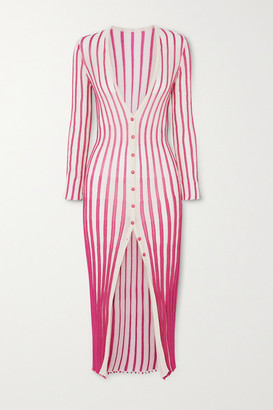 Jacquemus Jacques Striped Cotton-blend Midi Dress - Pink