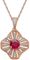 Macy's Ruby (1ct. t.w.) and Diamond Accent Pendant Necklace in 14k Rose Gold