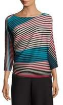 Issey Miyake Striped Batwing Sleeve Top