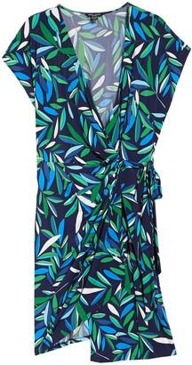 Maggy London Leaf Print Cap Sleeve Wrap Dress (Plus Size)