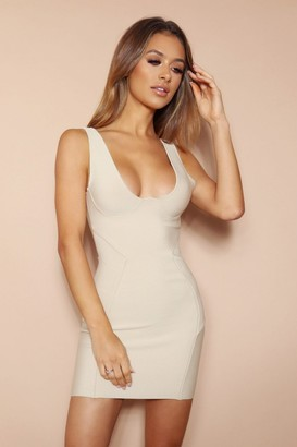 LEMONLUNAR The Esme Beige Bandage Mini Dress