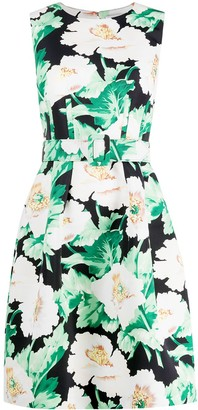 Oscar de la Renta Floral-Print Belted Dress