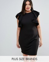 Club L Plus High Neck Ruffle Detail Dress
