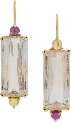 Dubini 18kt yellow gold, citrine, morganite and rhodolite Bi-color Beryl earrings