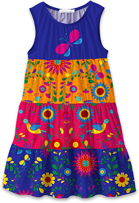 Sunshine Swing Girls' Casual Dresses - Primary Colors Butterfly & Bird Garden Tiered Sleeveless Dress - Toddler & Girls