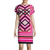 Studio 1 Short-Sleeve Geo-Print Shift Dress