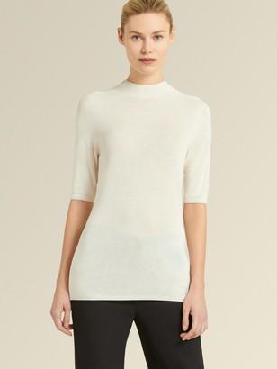 DKNY Donna Karan Women's Elbow Sleeve Mock-neck Sweater - Cream - Size XL