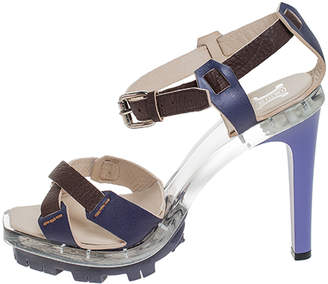 Celine Purple/Brown Cross Leather and Plexiglass Platform Ankle Strap Sandals Size 38.5