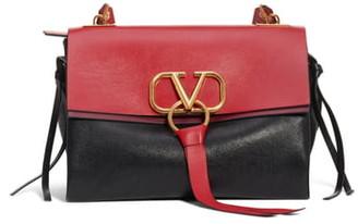Valentino Medium V-Ring Leather Shoulder Bag