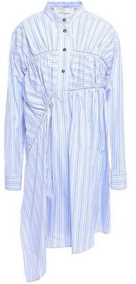 Cédric Charlier Asymmetric Gathered Striped Cotton-poplin Mini Shirt Dress
