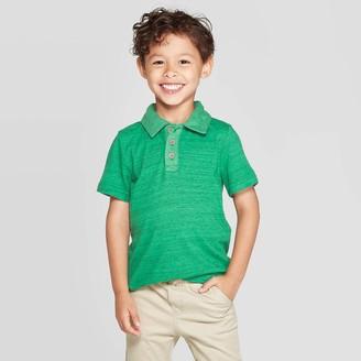 Cat & Jack Toddler Boys' Specialty Jersey Short Sleeve Polo Shirt - Cat & JackTM Heather