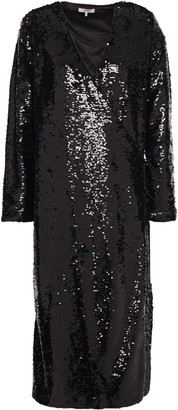 Ganni Sonora Sequined Tulle Midi Wrap Dress