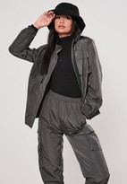 Missguided Gray Co Ord Double Pocket Detail Shell Jacket