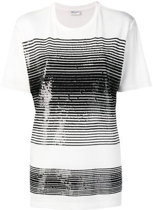 Saint Laurent sequin-embellished crew-neck T-shirt