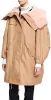 Calvin Klein Cotton-Silk Parka with Shearling Hood