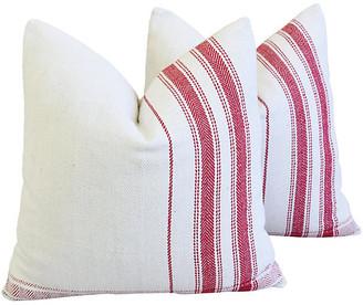 One Kings Lane Vintage French Red Stripe Grain Sack Pillows - Pr