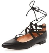 French Sole Truffle Suede Lace-Up Flat