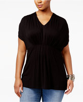 INC International Concepts Plus Size Pleated Top, Only at Macy's