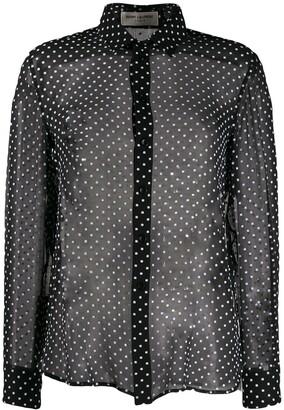 Saint Laurent Sheer Polka Dot Shirt