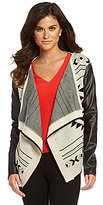 Hector Faux-Leather-Sleeve Cardigan
