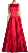 Jovani Sleeveless Pleated Satin Ball Gown, Red