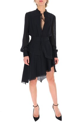 Amiri Semi-Sheer Polka Dot Asymmetric Dress