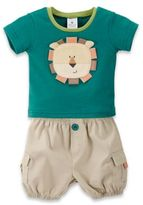 Baby Aspen Size 0-6M 2-Piece Jungle Shirt and Short Set in Green/Khaki