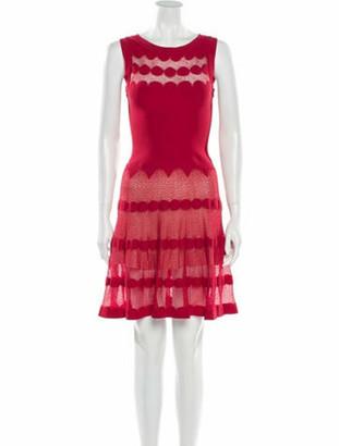 Alaia Lace Pattern Mini Dress Red