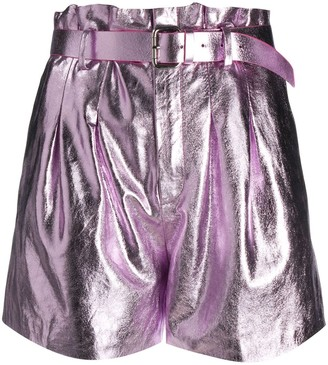 RED Valentino Belted Metallic Shorts