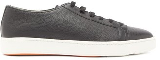 Santoni Cleanic Grained-leather Trainers - Mens - Black
