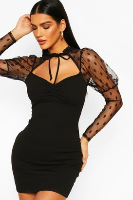 boohoo Dobby Mesh Puff Sleeve Mini Dress