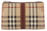 Burberry Leather-Trimmed Haymarket Check Cosmetic Bag