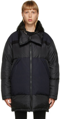 Yves Salomon Army Black and Navy Down Jacket
