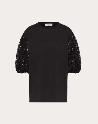 Valentino Jersey And Heavy Lace T-shirt Women Black 100% Cotone M