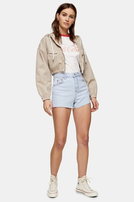 Topshop Premium Bleach Wash Denim Mom Shorts