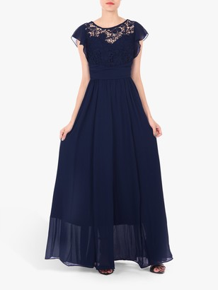 Jolie Moi Crochet Lace Bodice Maxi Dress, Navy