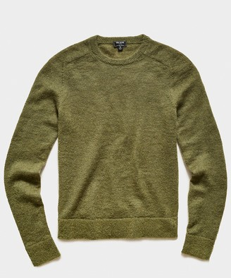 Todd Snyder Brushed Italian Mohair Wool Sweater in Olive