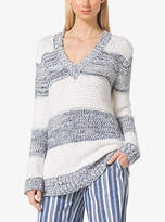Michael Kors Striped Cotton-Blend V-Neck Sweater