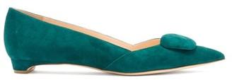 Rupert Sanderson Aga Point-toe Suede Flats - Dark Green