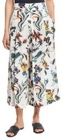 Tibi Gothic Floral Linen Pleated Culottes, White/Multicolor