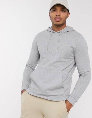 Asos Design DESIGN organic hoodie with curved hem in grey marl