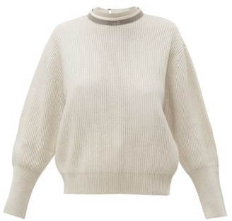 Brunello Cucinelli Embellished V-back Ribbed Cashmere Sweater - Womens - Ivory
